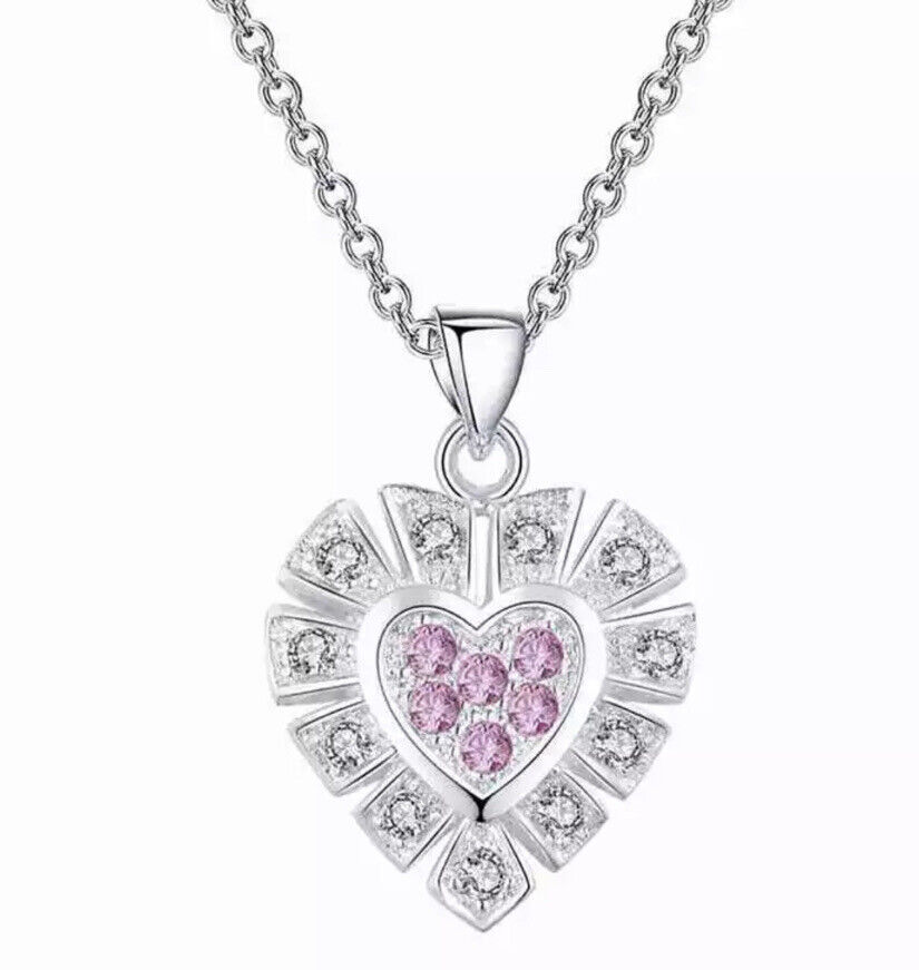 925 Sterling Silver Cubic CZ Crystal Pink Heart Pendant Necklace Girlfriend Wife Fashion Jewelry