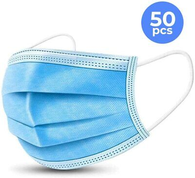 50 Pcs Face Mask Medical Surgical Disposable 3-ply Earloop Mouth Covers