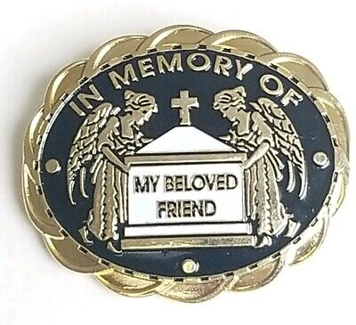 Gold Tone In Memory of My Beloved Friend Angel Funeral Oddity Lapel Pin