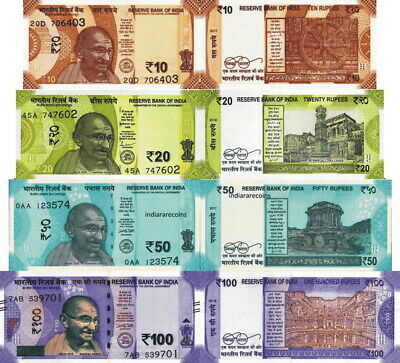 INDIA - news Lotto 4 banconote 10/20/50/100 rupees FDS - UNC