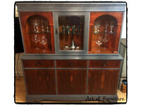"""Oak Welsh Dresser Sideboard with shelvings Hand Painted in Grey Chalk Paint """"Upcycled """""""