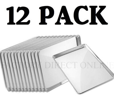 "12 PACK Full Size Aluminum 18"" x 26"" Bun Sheet Baking Pan Wire in Rim Commercial"