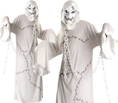 Cool Costums (Adult Deluxe COOL GHOUL Ghost Fancy Dress Costume Halloween Outfit Horror Unisex)