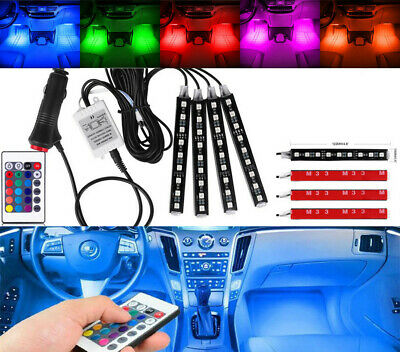 Car Accessories LED Light Strip Wireless Remote RGB Auto Interior Floor Light