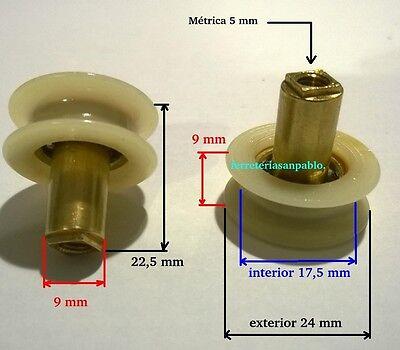 6 RUEDAS DE MAMPARA 24 mm (ruletas rodamientos o para ventanas rueda...