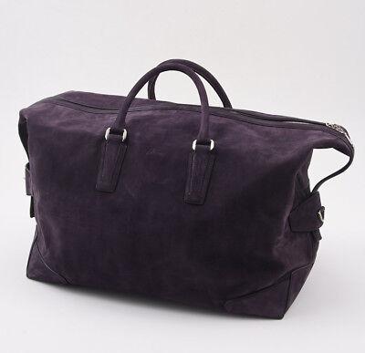 f438f449dc NWT  5475 BRIONI Midnight Purple Matte Leather Carryall Overnight Duffle Bag