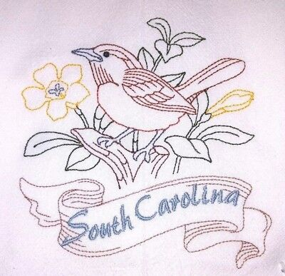 STATE BIRD-SOUTH CAROLINA-GREAT CAROLINA WREN EMBROIDERED FLOUR SACK DISH TOWEL
