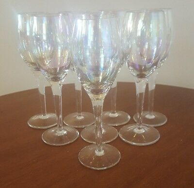 (Vintage White Wine Glasses S/8 Stemware Water Goblets Irridescent & Opalescent )