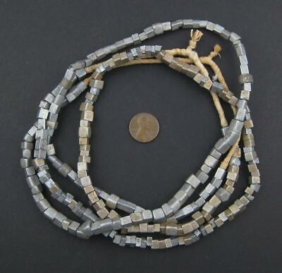 Old Mursi Ethiopian Aluminum Cube Beads 6mm African Silver Large Hole Handmade