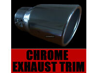 Sports Road 50mm-67mm Chrome Plated Steel Curved Ended Exhaust Tail Pipe Car Van