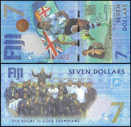 Купить Fiji 7 Dollars, 2017, P-120, UNC,Rugby 7s Gold Olympians Summer Olympics  Brazil