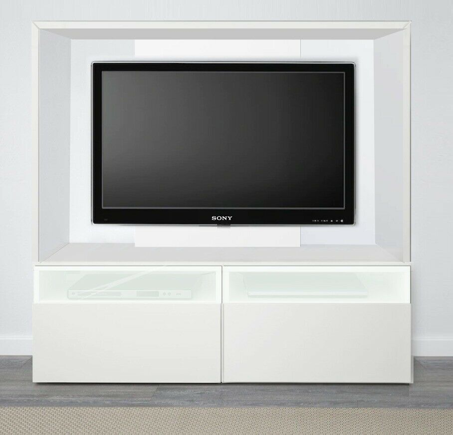 Ikea White Wall Mounted Tv Media Unit With Drawers Sony For Extra 50 In Clapham London Gumtree