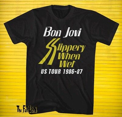 New Bon Jovi Slippery When Wet Us 1986 1987 Tour Mens Vintage Classic T Shirt