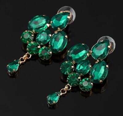 Emerald dark Green Crystal Rhinestone Bridal Pageant Prom Pierced Earrings Dark Green Rhinestone
