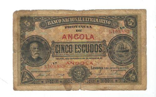 ANGOLA  - 1921,  5 Escudos