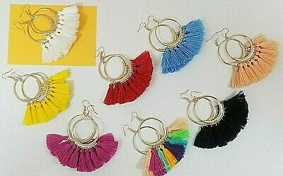 Hoop Fan Tassel Earring Fringe Big Gold Hoop Circle Round Drop Boho Earrings