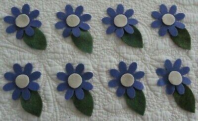 pRiMiTiVe 100% Wool Die Cut Shapes~Penny Rug~Applique~Spring Daisies~24 pieces~