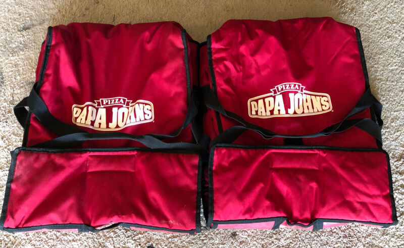 2-Papa Johns Insulated Pizza Delivery Bags Red