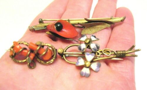 VICTORIAN ANTIQUE GOLD FILLED PIN LOT OF 3 CORAL ENAMEL 9.6 GRAMS