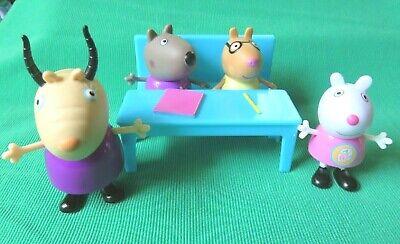 Peppa Pig SCHOOL TEACHER SUZY SHEEP DANNY DOG PEDRO PONY figures lot + DESK