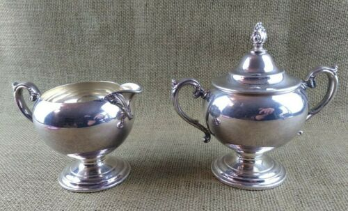 Vintage Silver Plated Wm Rogers Lilac Time Silverplate Cream and Sugar Set