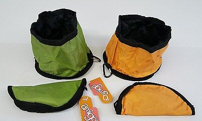 (Set of 2) Collapsible And Foldable Dog Travel Bowls ~ 2 Colors Green And Orange