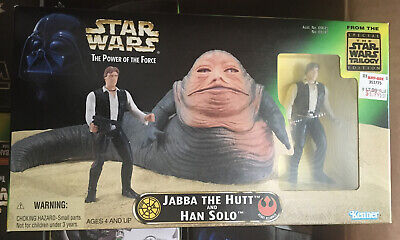 1997 Star Wars Power Of The Force Jabba The Hutt and Han Solo POTF NIB