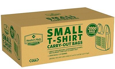 2000 Commercial Grocery Convenience Store Plastic Small T-shirt Thank You Bags