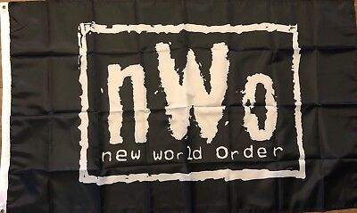 NWO New World Order Wrestling Flag 3x5  Black banner WCW, WWF, WWE Man Cave - Wwe Banner