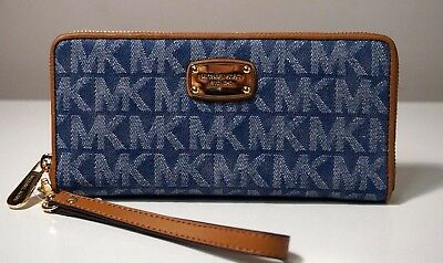 Fabric Continental Wallet - Michael Kors Jet Set Denim Blue Travel Continental Wallet/Wristlet