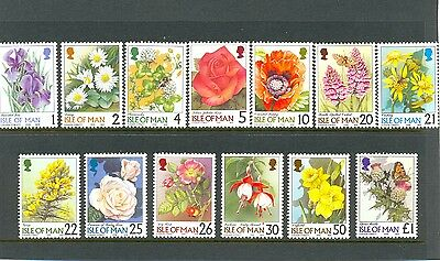 Isle of Man Flowers complete set 13 values(mnh)