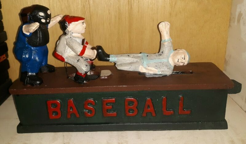 VINTAGE REPRODUCTION BASEBALL MECHANICAL BANK CAST IRON