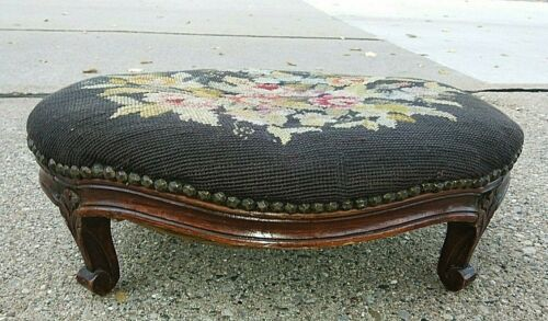 "Fine Antique  French Louis XV Footstool 19.75 x 14.5 x 7"" Needlepoint  X Clean"