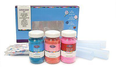 Cotton Candy Kit Sugar Cones Floss Fun Pack Machine Maker 3 Flavors Vanilla New