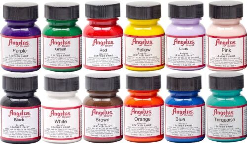 Angelus Leather Paint Starter Kit Set of 12 1oz Bottles NEW