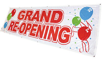 Grand Re-opening Banner Sign Vinyl Alternative 3x10 Wb Fabric