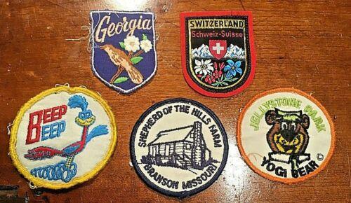 Vintage sew on patches Yogi Bear Georgia Road Runner Switzerland Shepherd/Hills