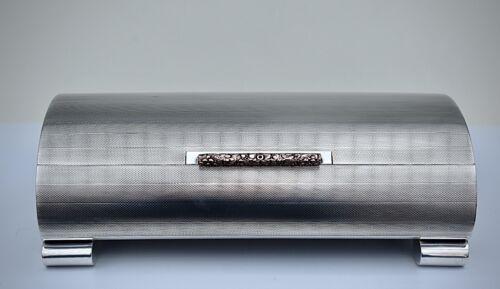 Breathtaking Solid Silver Domed Art Deco Cigarette / Cigar Box, Birmingham 1949