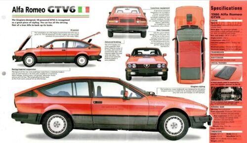 ALFA ROMEO GTV6 SPEC SHEET/Brochure/Flyer/Catalog:1986,
