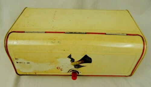 Maid of Honor Vintage Metal Bread Box Estate Find Red White Robin