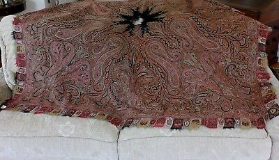"Antique Hand Embroidered Wool Kashmir Shawl c1840-1850~64""LX68""W"