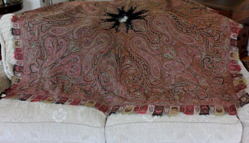 "Antique Hand Embroidered Wool Paisley Kashmir Shawl c1840-1850~64""LX68""W"