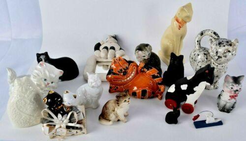 Mixed Lot Of 16  Cat Figurines Porcelain, Wood