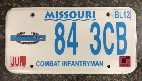 Missouri COMBAT INFANTRYMAN Metal License Plate 84 3CB