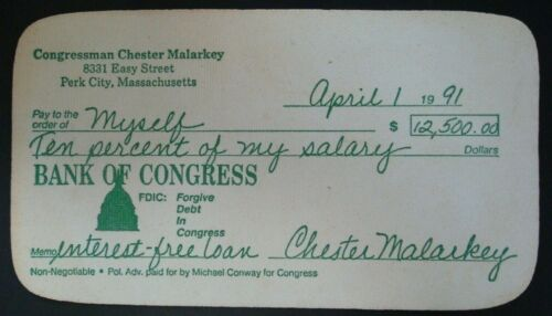 1991 Rubber Check (scandal) Bank of Congress M. Conway for Congress (FREE SHIP)