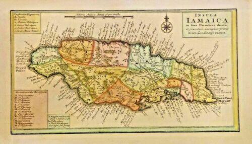 Antique map of Insula Iamaica in fuas Parochias divif 1737. BEAUTIFUL JAMAICA