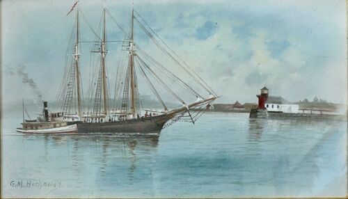Original Watercolor Maritime Painting of Ship in Casco Bay by George Hathaway