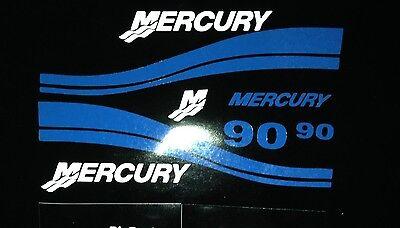 Mercury Outboard 40 50 60  90 hp Blue Marine Vinyl decal set   free - 40 50 90