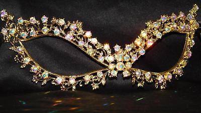 AB Rhinestone Crystal Masquerade Gold Mask Mardi Gras Party /Black Ribbon 1239