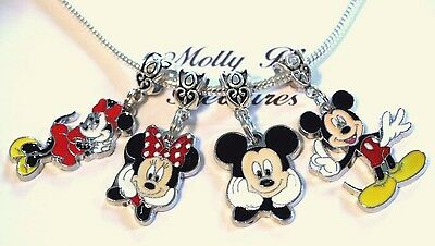 4 MINNIE & MICKEY MOUSE  Pendant Charms for European Charm Bracelet or Necklace (Charms For Charm Bracelet)